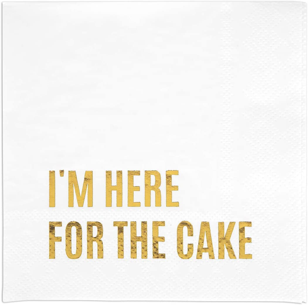 Andaz Press Foil I'm Here for The Cake Saying Cocktail Napkins, 5-Inch Bulk 50-Pack Count 3-Ply Disposable Fun Beverage Napkins for Wedding, Bridal Shower, Bachelorette, Birthday, Holiday (Gold)