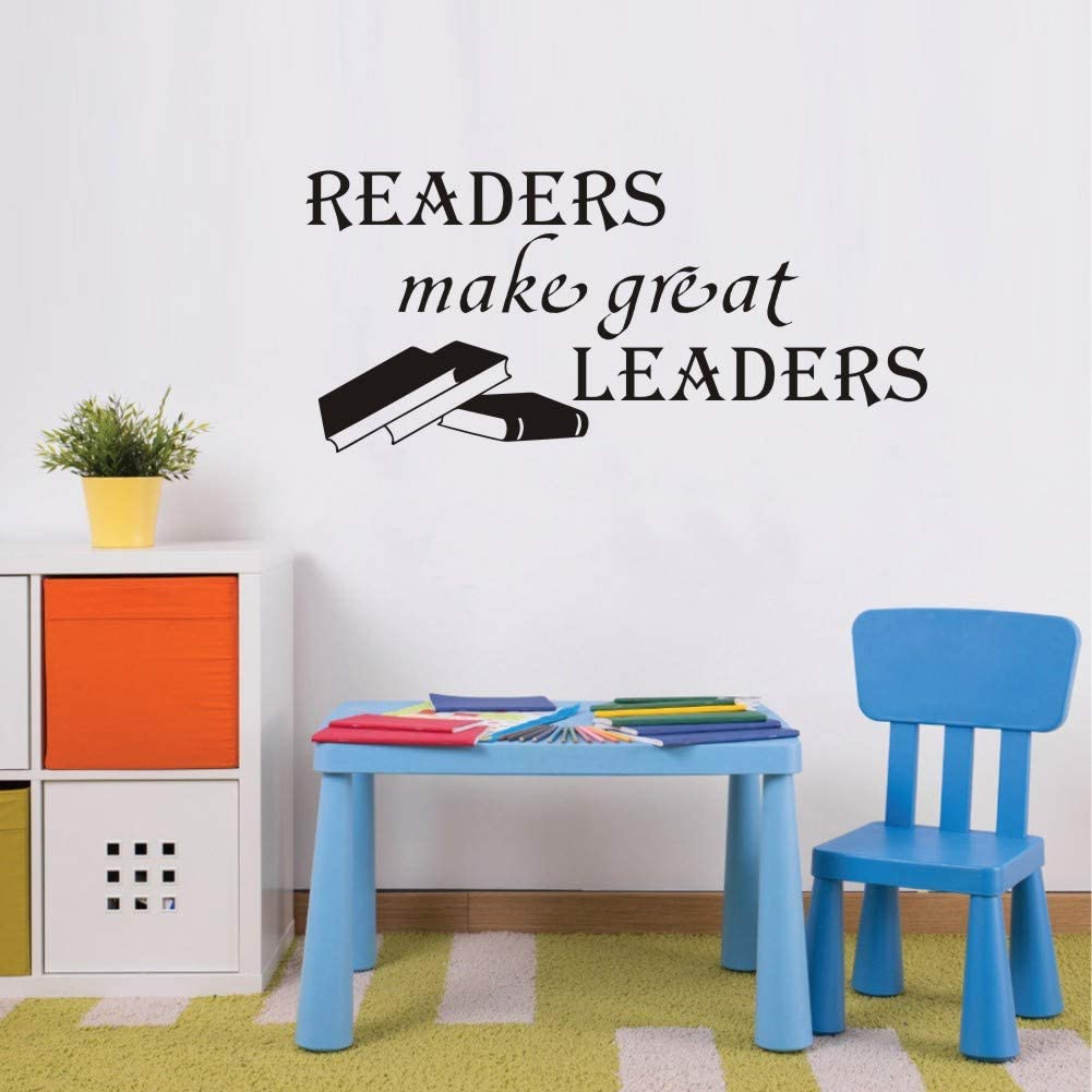 WOVTCP Readers Make Great Leaders Wall Decal Classroom Quote Door Decorations Teacher Reading Book Corner Art Library Wall Sticker Home Decor