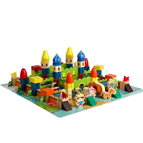 ee6031ac0 Amazon.com  Wooden Castle Building Blocks Set Classical Stacking ...