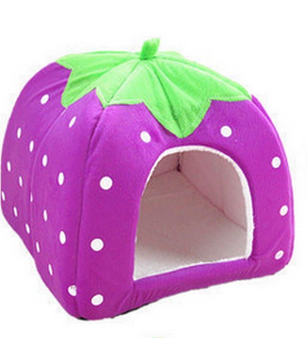 Monbedos Pet Bett Erdbeere Form Pet Nest Kissen für Kleine Hunde und Katzen, Rose, S