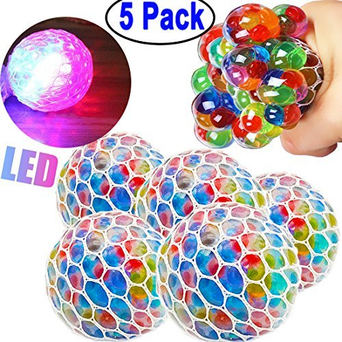 5 Pack Stress Mesh Ball LED Glowing Squeeze Grape Anxiety Relief Toys Hand Wrist Squeezing Light Up Colourful 2.5'' Balls with Net Fidget Toy for Adults Kids Birthday Back to School Gift