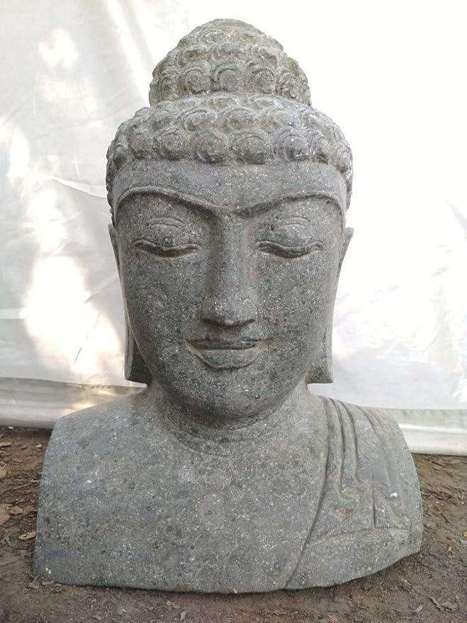 Wanda collection Decoración jardín Busto de Buda Estatua de Piedra volcánica 40 cm: Amazon.es: Jardín