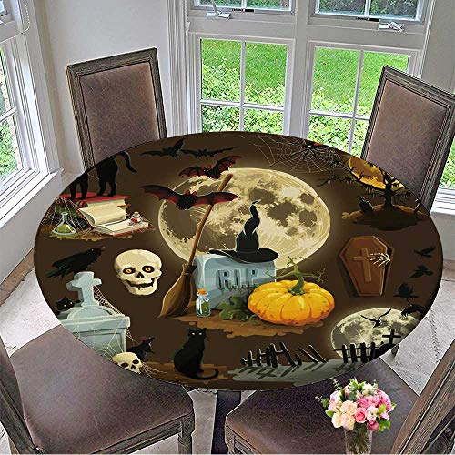 (Mikihome Picnic Circle Table Cloths Clip Art s for Halloween Celebration for Family Dinners or Gatherings 35.5