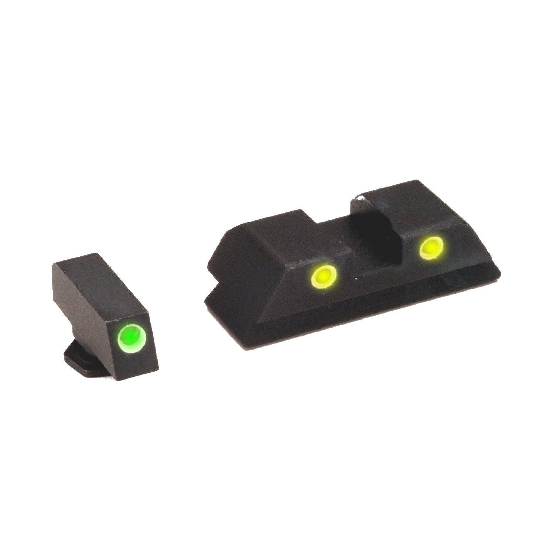 AmeriGlo Classic Tritium 3-Dot Springfield XD Front/Rear Sight Set, Green/Yellow