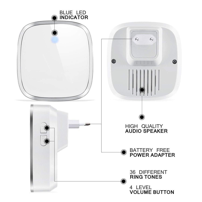 Nero 1 Trasmettitore Pulsante e 2 Ricevitori Con Spina Incorporata 4 Volume regolabile Campanello Senza Fili Impermeabile 36 Suonerie Indicatore LED Wireless Doorbell Con Raggio dAzione 300m
