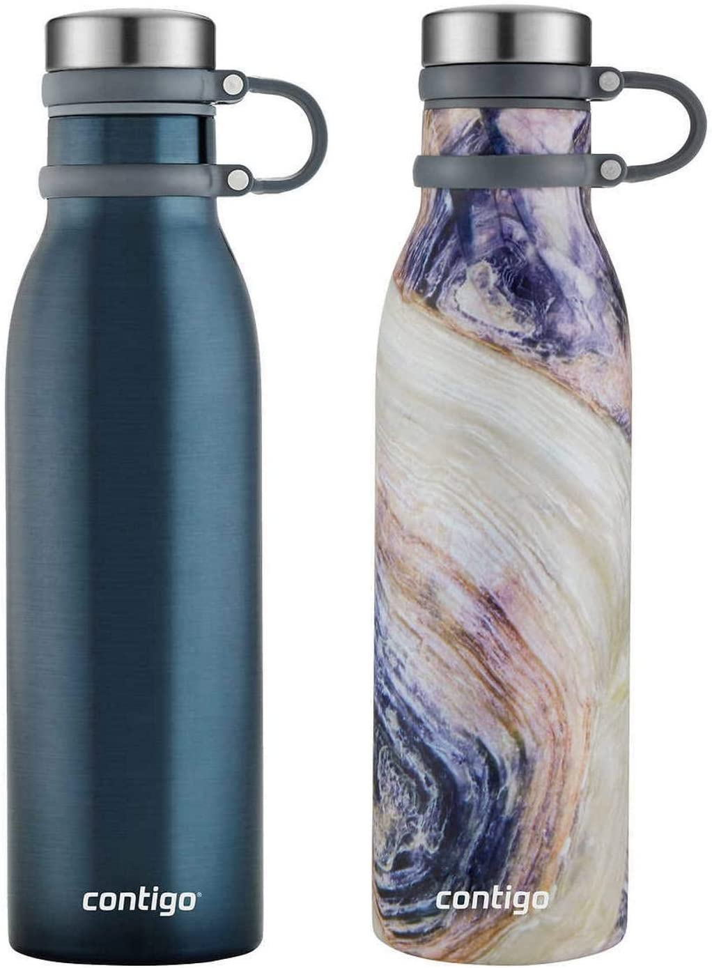 Contigo Couture Collection Vacuum-Insulated Stainless-Steel Water Bottle w/Tethered Lid, 20 oz, Midnight Blue/Twilight Shell - 2 Pack