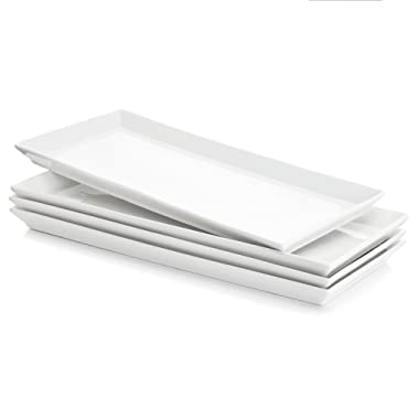Sweese 3303 Rectangular Porcelain Platters/Trays for Parties - 12.9 Inch, Set of 4