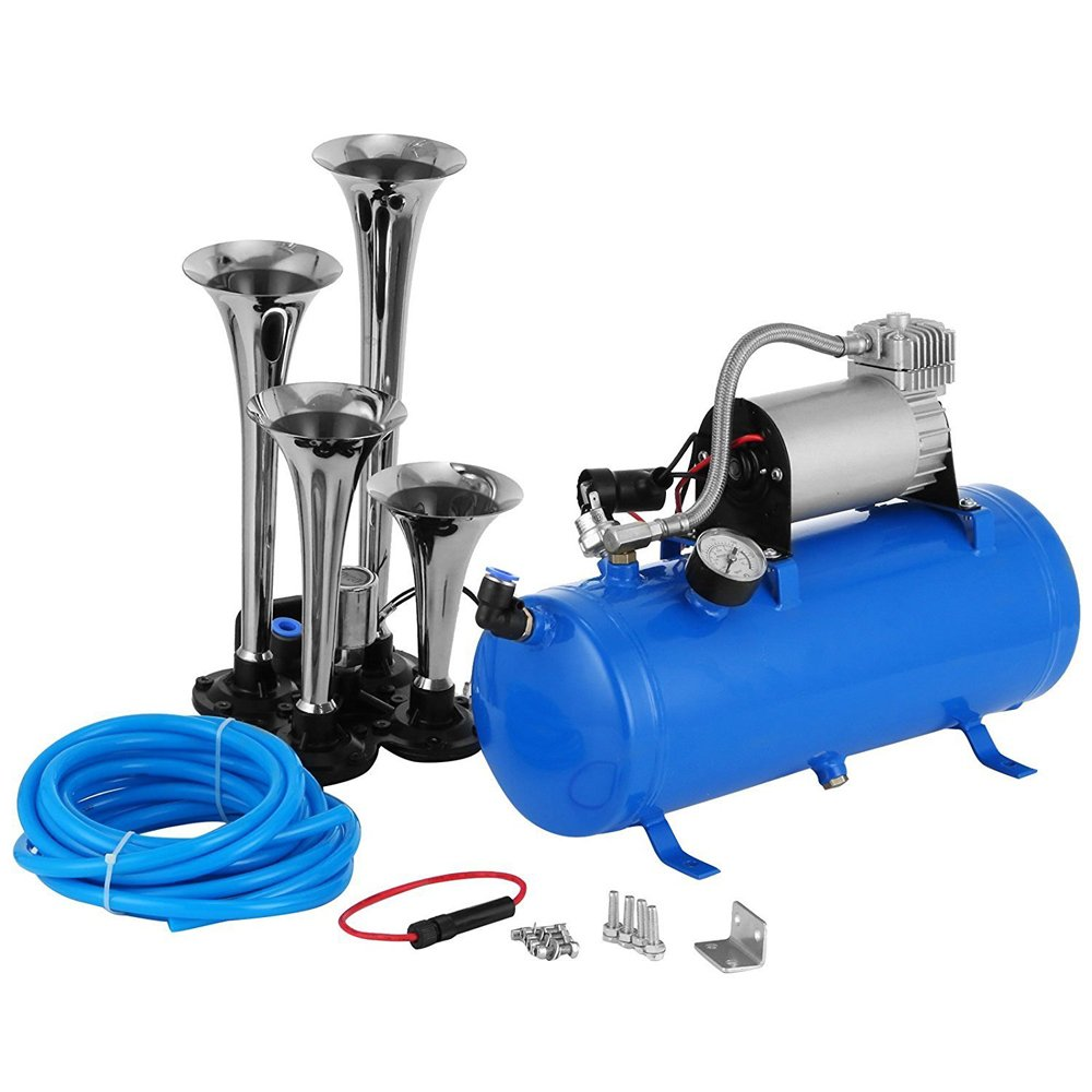 (US Stock)Hindom 1.6 Gallon 4 Trumpet Vehicle Air Horn,12 Volt Compressor and Hose 150 dB Train 120PSI Kit Set for Train Car Truck Boat RV Super Loud 120PSI Kit Set by Hindom