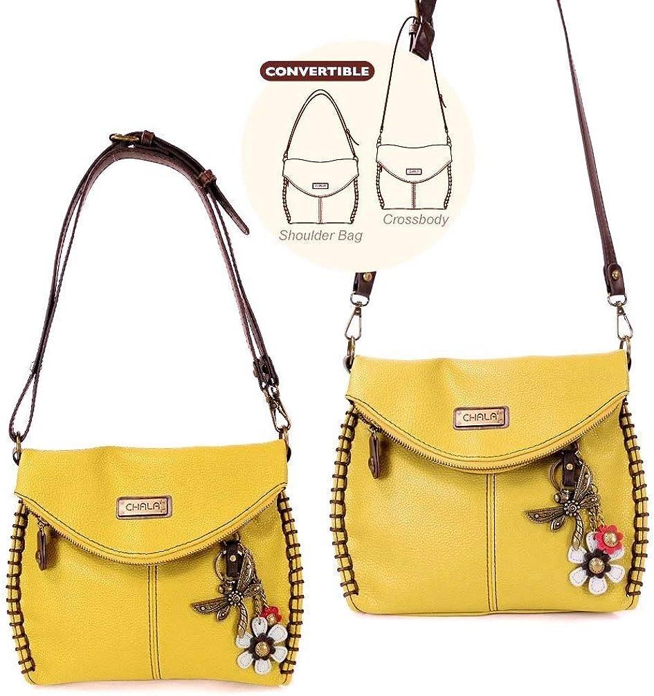 Chala Charming Crossbody Bag Shoulder Handbag With Flap Top and Zipper Mustard