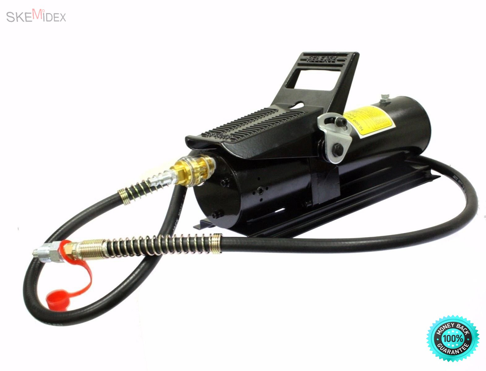 SKEMiDEX--- 10 TON 10,000 PSI Porta Power Foot Pump Control Lift W/ 6ft Hose Durable rugged construction parts built for long life and easy operation Swivel coupling simplifies hydraulic connect