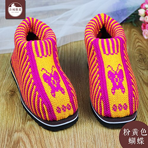 LaxBa Femmes Hommes chauds dhiver Chaussons peluche antiglisse intérieur Cotton-Padded Chaussures Slipper (papillon rose)42/43 (pour 39 ~ 40 mètres)