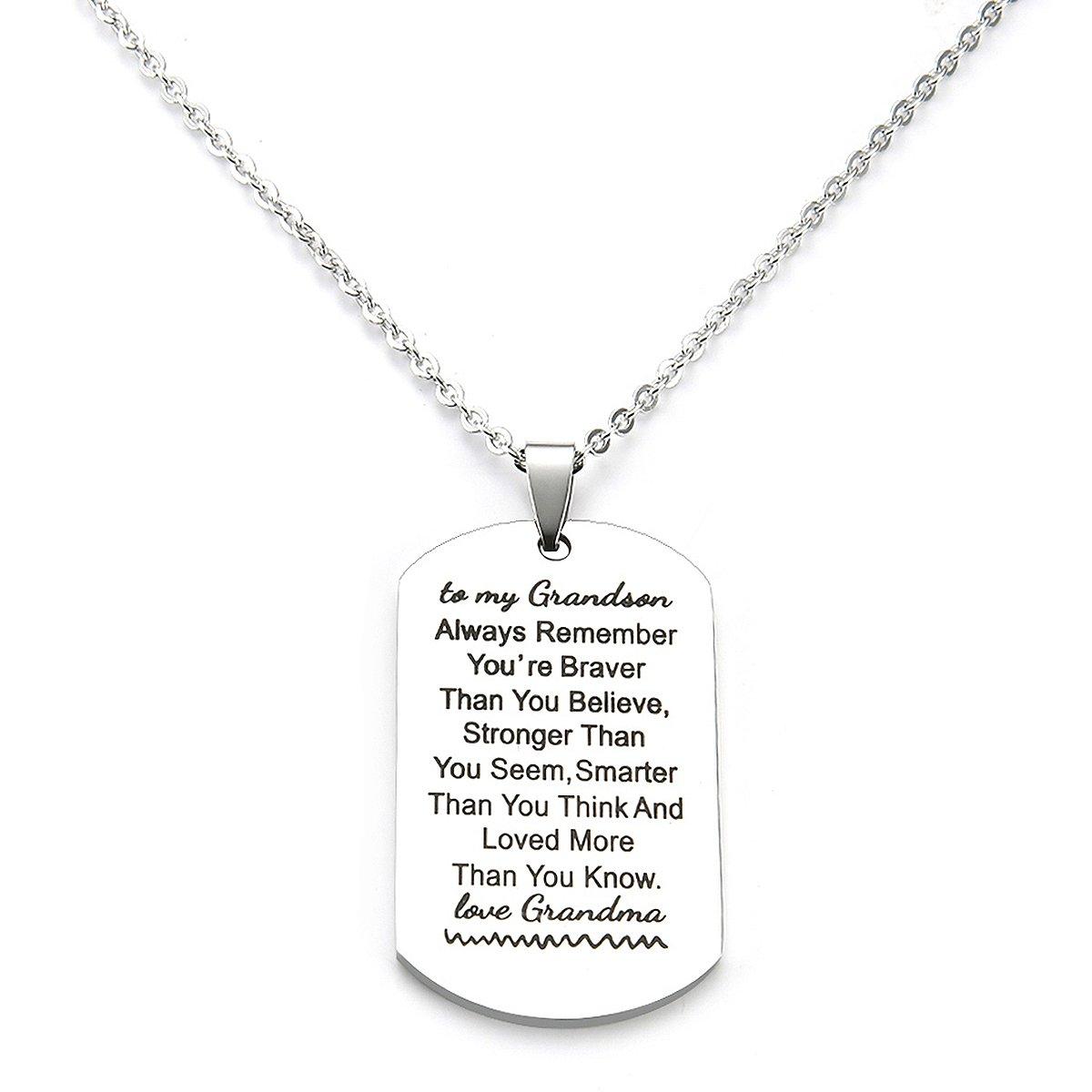 petit-fils cadeaux à partir de grand-mère grand-mère Nana grands-parents You Are Braver Than You Believe Collier Bijoux pour Enfants Pendentif dog tag danjie Nkc031