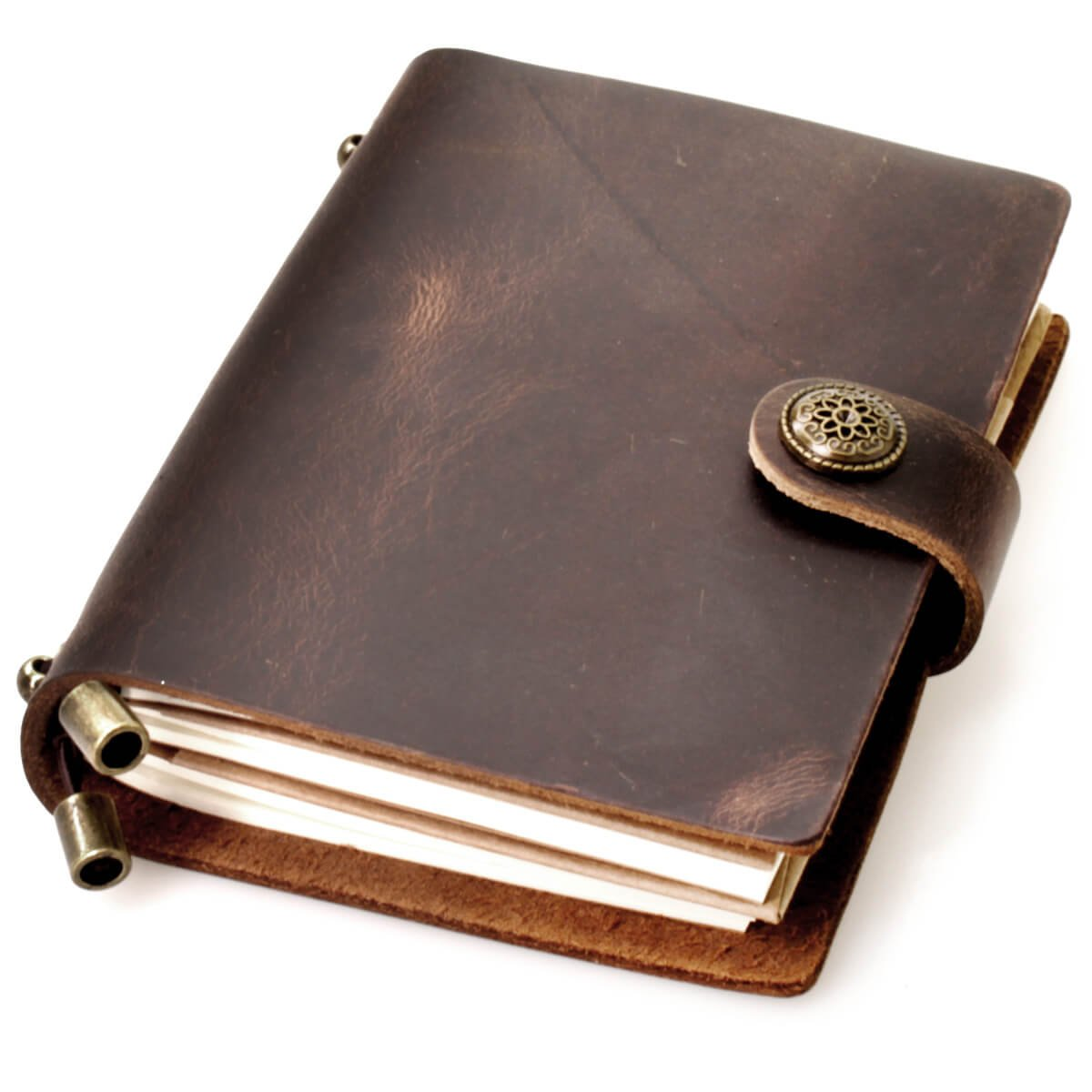 CONE Travel Leather Diary Notebook 5.5x4.3x1.2 inch, Brown, Pack of 1 ÿ