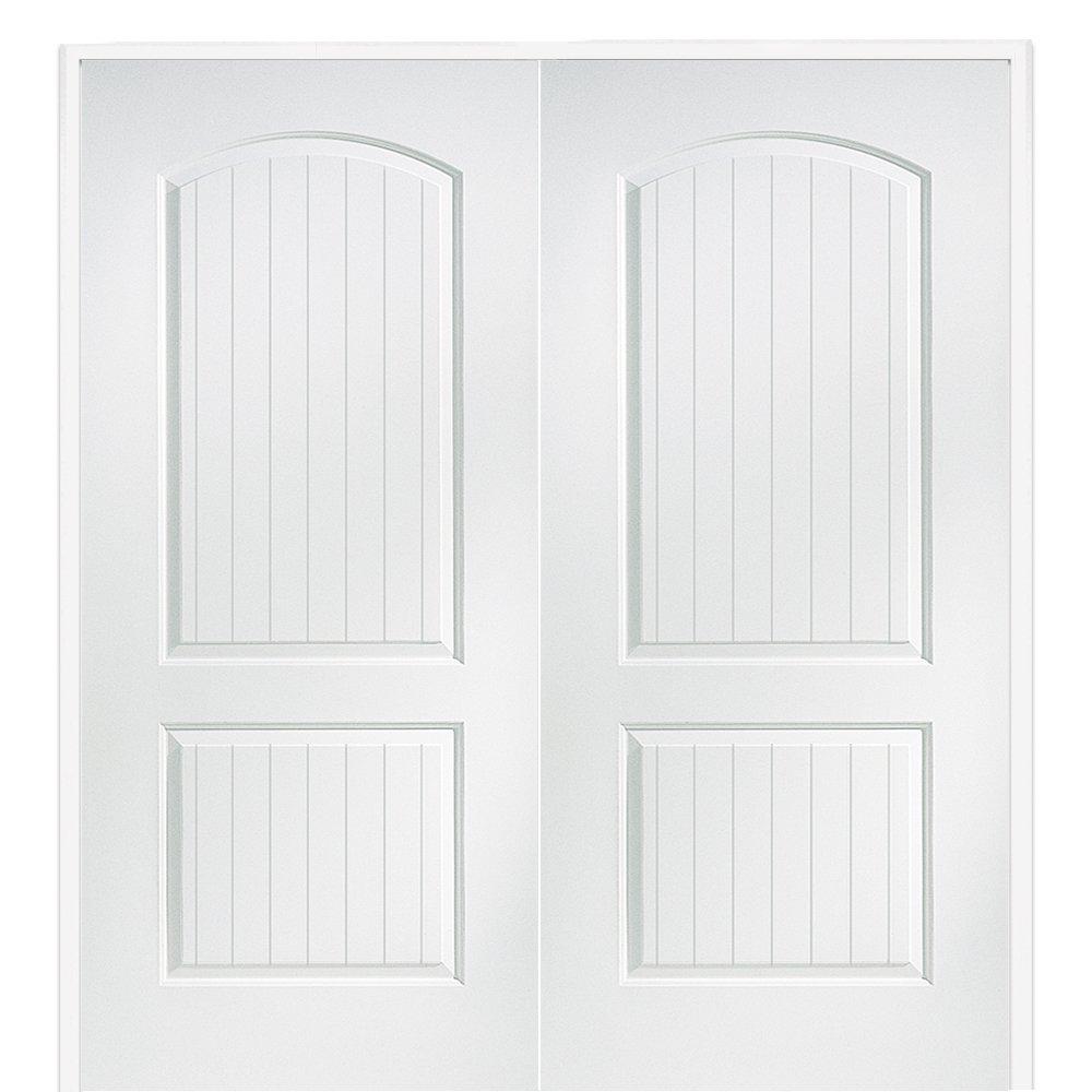 National Door Company Z009493BA Solid Core Molded 2-Panel Planked, Prehung Interior Double Door, 72'' x 80''