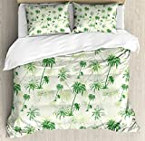 Hawaii King Size Duvet Cover Set by Ambesonne, Sketch Palm Tree North Pacific Ocean Foliage Abstract Monochrome Design, Decorative 3 Piece Bedding Set with 2 Pillow Shams, Forest Green Pale Green