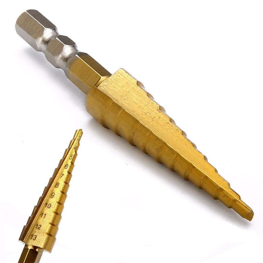 1pc Titanium Coated Step Cone Drill Bit 1//4 inch Hex Shank Woodworking Drilling Tools 3-13mm