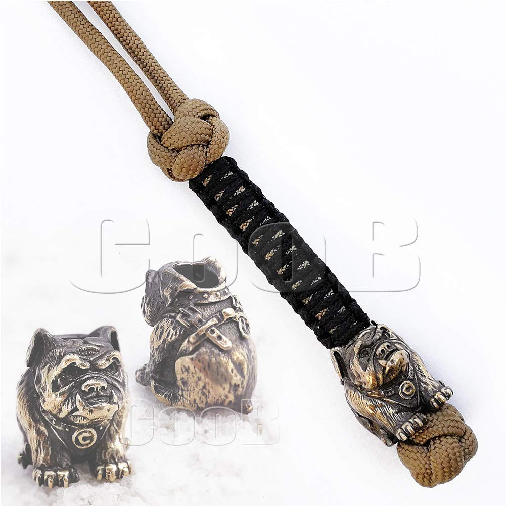 EDC Survival Paracord Lanyard Keychain Strap Key with Hand Casted Bead Beads Charms Animals Collection for Knife, Flashlight, Camera - US Military Grade Type III 550 Lb Cord (Bulldog)