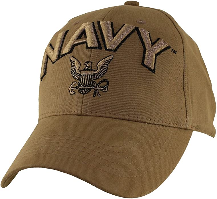 55389e7b55a59 MilitaryBest U.S. Navy Logo Coyote Brown Ball Cap at Amazon Men s ...