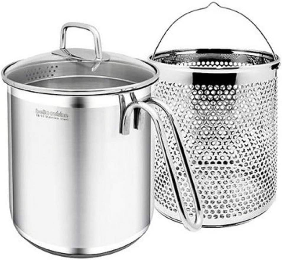 Bella Cuisine NEW Multi-Pot with Pasta Insert 18/10 Stainless Steel Pasta Cooker Steamer Multipots, Pouring Spout, Pouring Glass, 7 inches