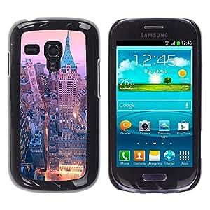 FlareStar Colour Printing 40 Wall Street New York City Skyline cáscara Funda Case Caso de plástico para Samsung Galaxy S3 III MINI (NOT FOR S3!!!) / i8190 / i8190N