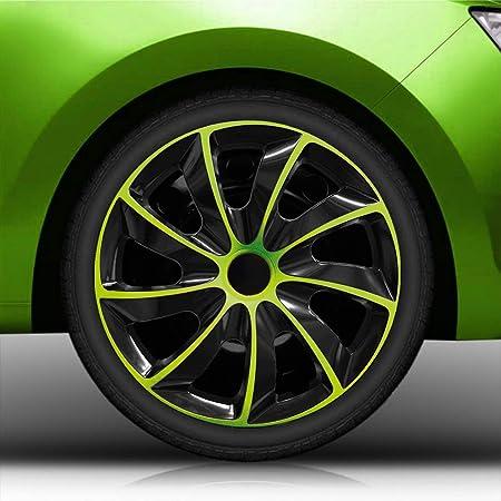 Autoteppich Stylers 14 14 Zoll Radkappen Radblenden Nr 002 Schwarz Grün 4 StÜck Farbe Und Größe Wählbar Auto