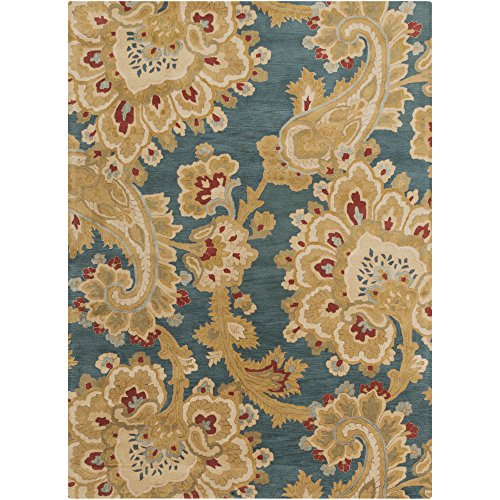 Surya Sea SEA-169 Classic Hand Tufted 100% New Zealand Wool Mediterranean Blue 8' x 11' Paisleys and Damasks Area Rug (Rug Hand Tufted Sea)