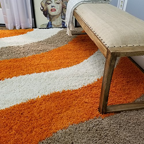 Maxy Home Bella Striped Multicolor 5 ft. x 7 ft. Shag Area Rug (Orange Rug Kids)