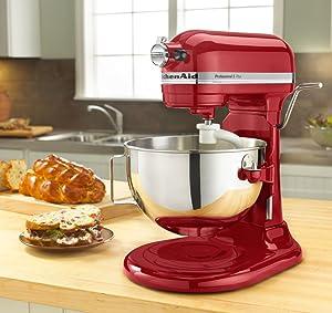 KitchenAid KV25G0XER Red Artisan 5-Quart 450-Watt Stand Mixer