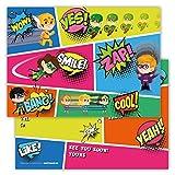 Funny Birthday Invitations Pack of 12 Cards for Boys Girls Kids Birthday Superheroes Hero Emoji Postcard Invitations Greetings fill-in Set