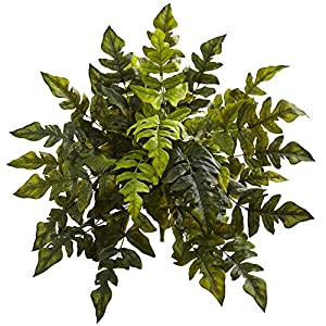 "Nearly Natural 6147-S2 24"" Holly Fern (Set of 2) Artificial Plant Green 49"