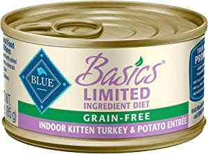 Blue Buffalo Basics Limited Ingredient Diet Grain Free Natural Kitten Pate Wet Cat Food, Indoor Turkey 3-oz cans (Pack of 24)