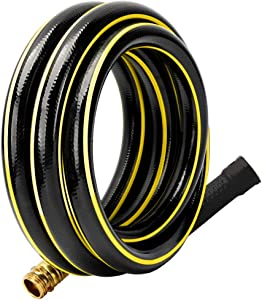 Solution4Patio 3/4 in. x 10 ft. Short Garden Hose, No Leaking, Black Lead-Hose Male/Female Solid Brass Fittings for Water Softener, Dehumidifier, Vehicle Water Filter, 12 Years Warranty #G-H165B24-US