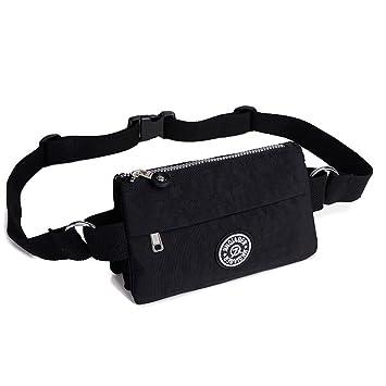 1719248ce7b0d1 Badiya Women's Waist Bag Multifunction Lightweight Fanny Pack Adjustable Belt  Bag (A - black)