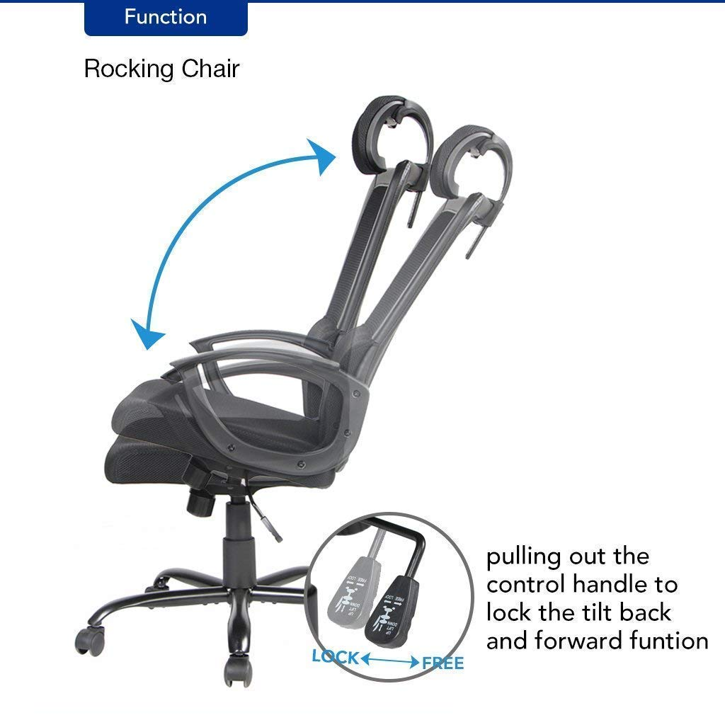 office owl Ergonomic Office Chair Adjustable Headrest Mesh Office Chair Office Desk Chair Computer Task Chair (Black) by Office Owl (Image #7)