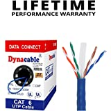 DynaCable 1000 Foot CAT6 Bulk Ethernet Bare Copper Cable, 23AWG 550MHz, Durable PVC, UTP Solid, CM In-Wall Rated, UL-Listed, Blue