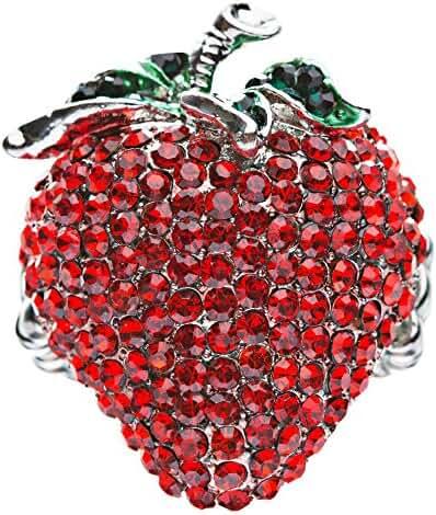 Strawberry Fruit Crystal Rhinestone Fun Big Sparkling Fashion Stretch Ring Red