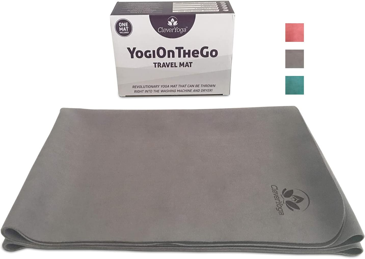 Travel Yoga Mat – Foldable, Absorbent and Machine Washable and Dry – Non Slip Yoga Mats for Bikram and Hot Yoga – YogiOnTheGo Thin Hot Yoga Mat