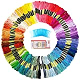 QICI Embroidery Floss 100 Skeins Rainbow Color Embroidery Thread,Friendship Bracelet String,20 Pieces Floss Bobbins with 16 Pcs Embroidery Needles