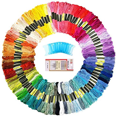 QICI Embroidery Floss 100 Skeins Rainbow Color Embroidery Th