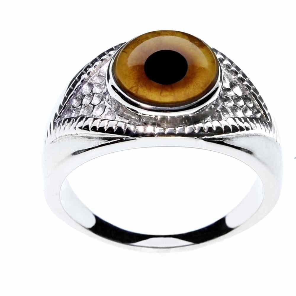 Steel Dragon Jewelry Unisex Lion Glass Eye Ring in an Eye-Shaped Stainless Steel Setting by (lion, 6)