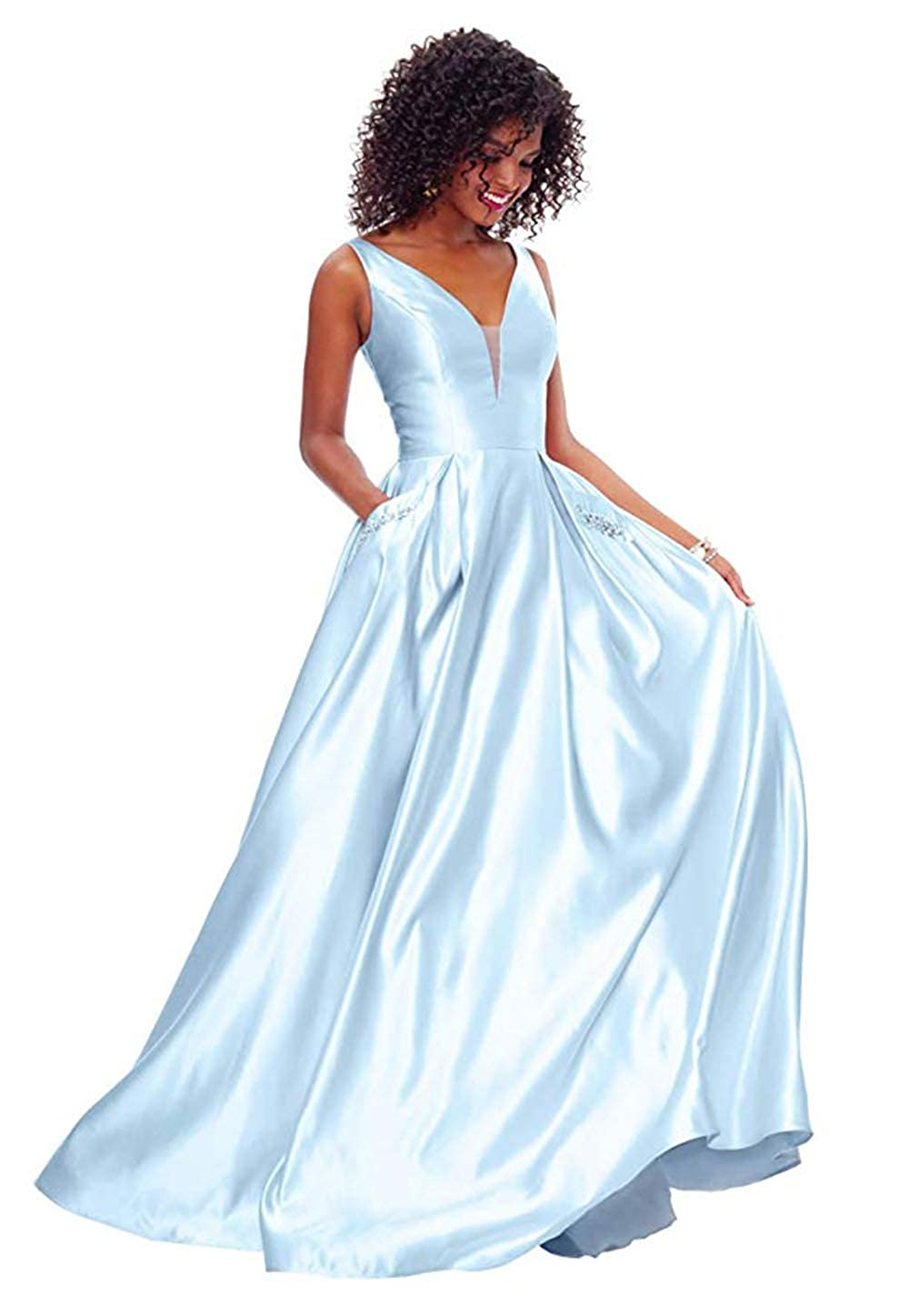 01babybluee PROMNOVAS Women's V Neck Backless Beaded Satin Prom Dress Long Formal Evening Gown with Pockets