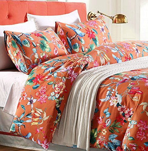 Tropical Garden Luxury 3 Piece Duvet Cover Set Island Tree Branch and Birds Multicolored Floral Pattern 100-percent brushed Cotton Twill (King)