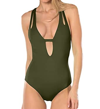 6f4a4aacf6997 Becca by Rebecca Virtue Women s Keyhole Plunge One Piece Swimsuit Swimsuit  Bay Leaf M