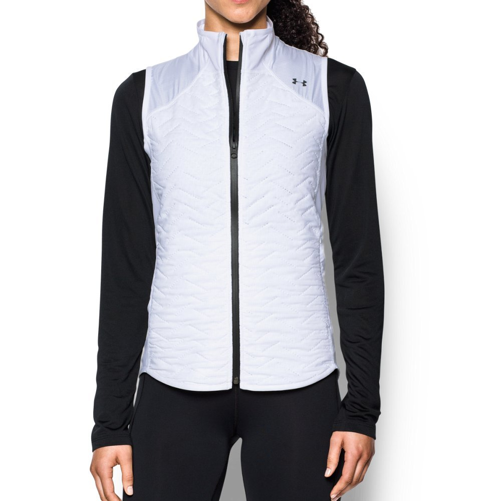Under Armour Women's ColdGear Reactor Fleece Vest,White (100)/Black, X-Small