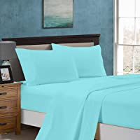 1000TC Ultra Soft 4pc Sheet Set (Flat Sheet & Fitted Sheet & 2 Pillowcases) - 5 Sizes (Double Size, Aqua)