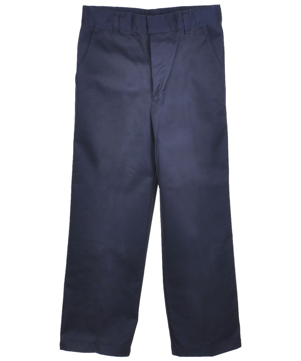French Toast Big Boys' Flat Front Wrinkle No More Double Knee Pants - navy, 18