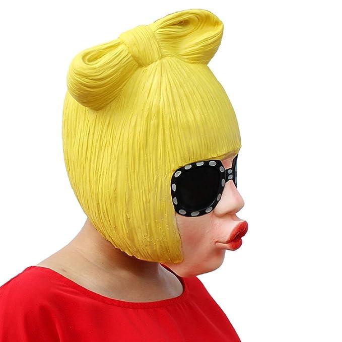 DylunSky Nueva máscara de látex Pretty Halloween Máscara peluca amarilla