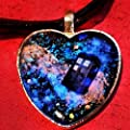 Glow In The Dark Galaxy Nebula Doctor Who Tardis Heart Pendant on Cord and Ribbon Necklace