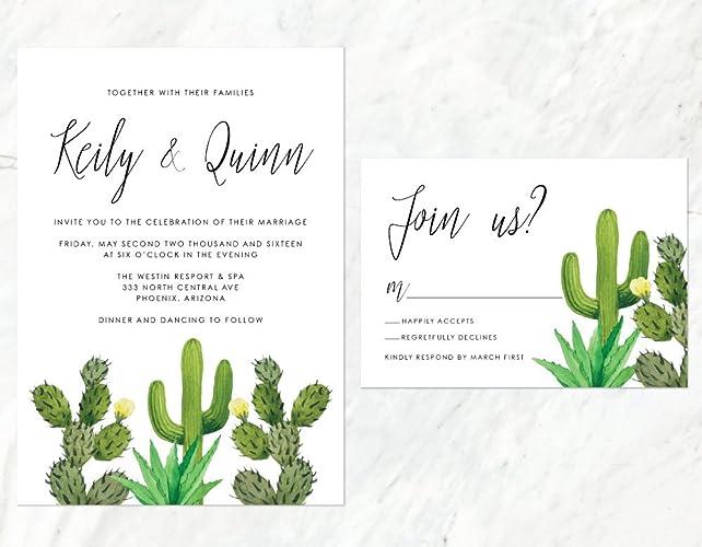 amazon com cactus wedding invitation desert wedding invitation