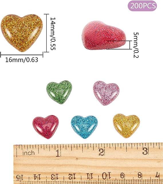 12MM Assorted Heart Resin Gold Foil Cabochons Flatback Ornament Accessories 20x